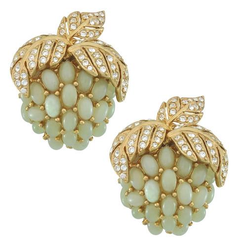 Ciner Jade Grapes Earrings