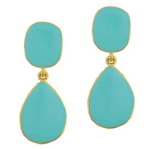 Kenneth Jay Lane Turquoise Enamel Teardrop Earrings