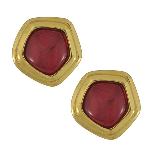 Vintage Avon Ruby Pentagon Earrings