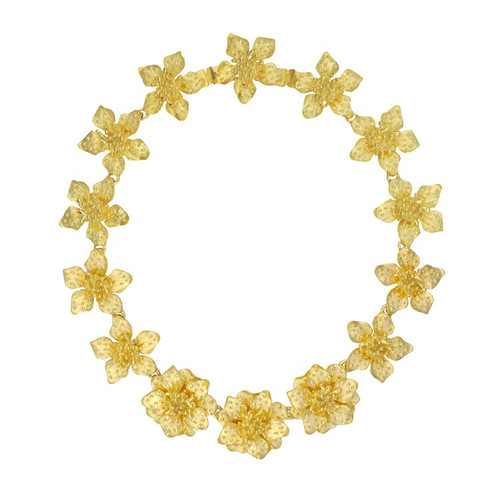 Kenneth Jay Lane Gold Satin Dogwood Flower Necklace