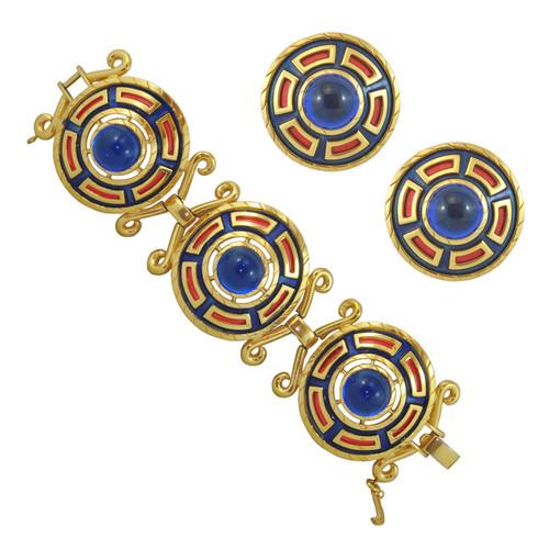 Rare Vintage Trifari Blue Bracelet and Earring Set