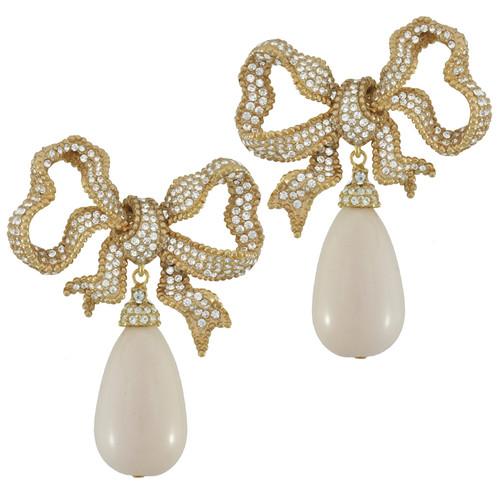 Ciner For Sophie Cream Latte Bow Drop Earrings