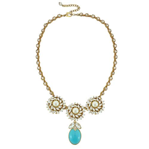 Ciner for Sophie Mini Aqua Blue Crystal Flower Necklace