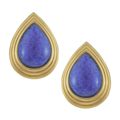 Vintage Christian Dior Teardrop Lapis Button Earrings