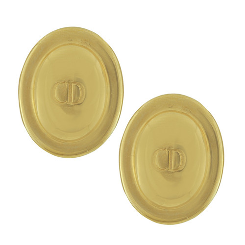 Vintage Christian Dior Gold Logo Oval Earrings