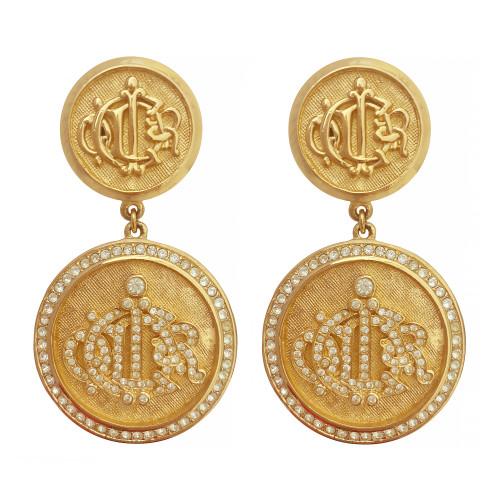 Vintage Christian Dior Coin Crystal Earrings