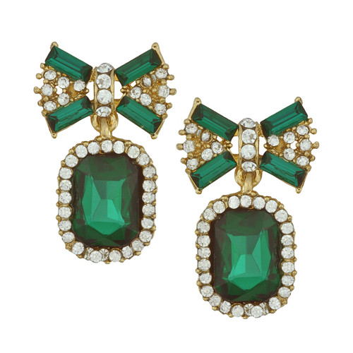 Pink Pave Emerald Crystal Bow Earrings