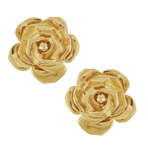 Vintage Yves Saint Laurent Gold Rose Earrings
