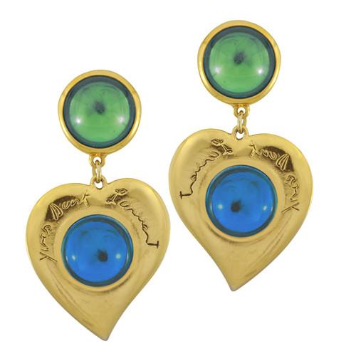 Vintage Yves Saint Laurent Emerald Glass Heart Earrings