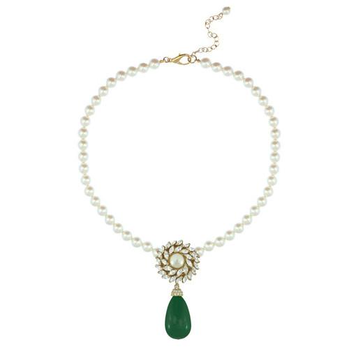 Ciner for Sophie Teal Green Pearl Flower Necklace