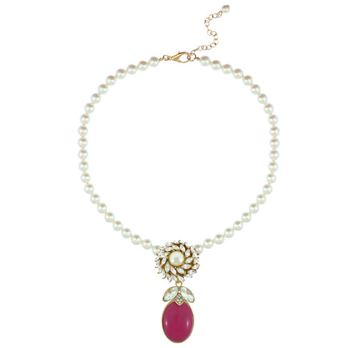 Ciner for Sophie Pearl Berry Crystal Flower Necklace