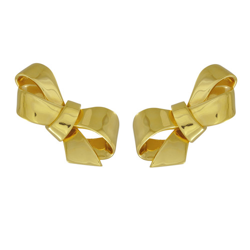 Vintage Ciner Shiny Gold Bow Earrings