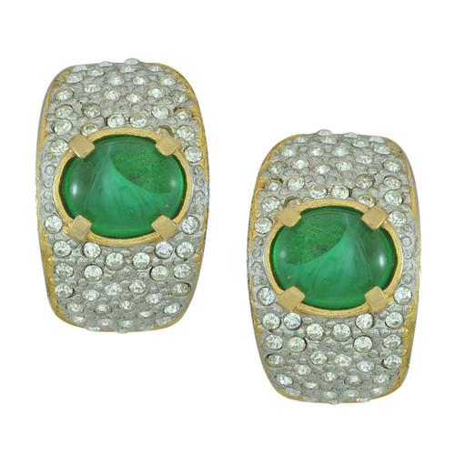 Vintage Crystal Emerald Half Hoop Earrings