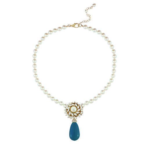 Ciner for Sophie Cerulean Blue Pearl Flower Necklace