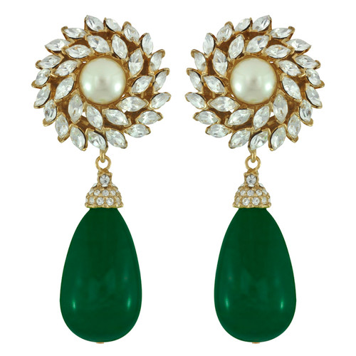 Ciner for Sophie Teal Green Flower Drop Earrings