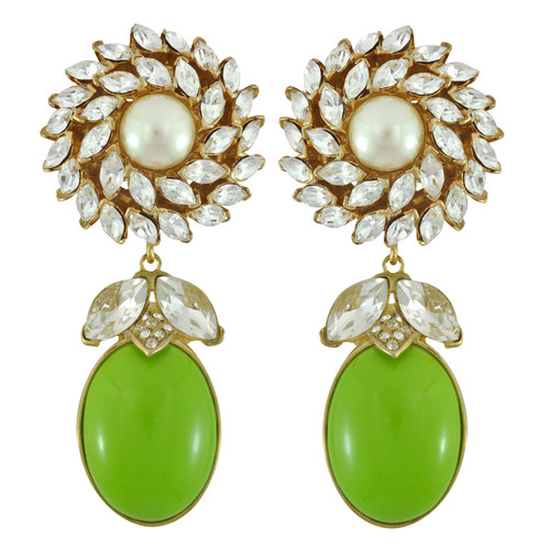 Ciner for Sophie Kelly Green Daisy Earrings