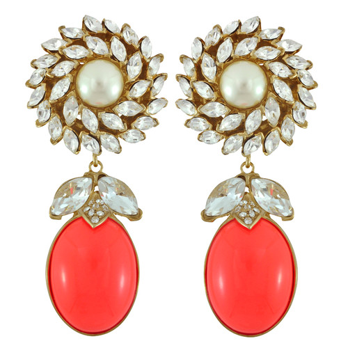 Ciner for Sophie Coral Crush Daisy Earrings