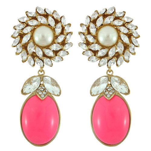 Ciner for Sophie Peony Pink Daisy Earrings