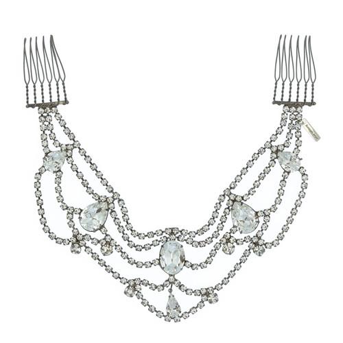 Jennifer Behr Mara Gunmetal Crystal Drape Headpiece