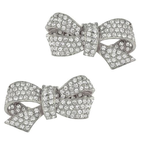 Ciner Silver Crystal Bow Earrings