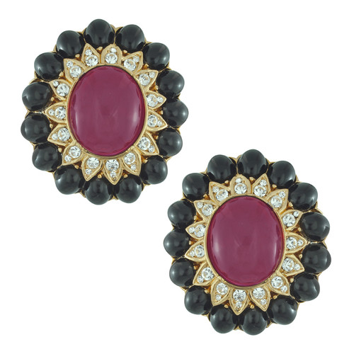 Ciner Margaret Ceylon Ruby Jet Earrings