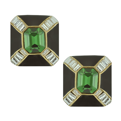 Ciner Jet Emerald Baguette Deco Earrings