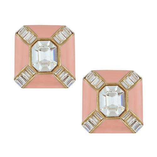 Ciner Blush Baguette Deco Earrings