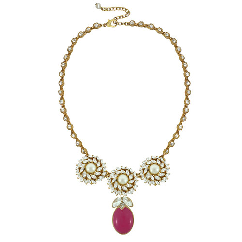 Ciner for Sophie Mini Berry Crystal Flower Necklace