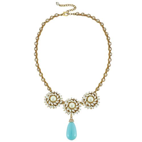 Ciner for Sophie Aqua Blue Crystal Flower Necklace