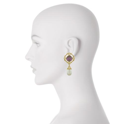 Vintage Swarovski Amethyst Pearl Drop Earrings