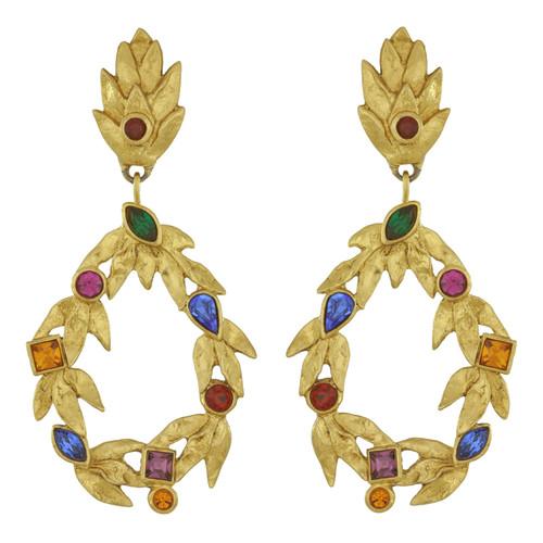 Vintage Yves Saint Laurent Gold Leaves Gem Earrings