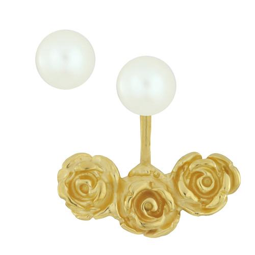 LeiVanKash Gold Rose Pearl Ear Jacket