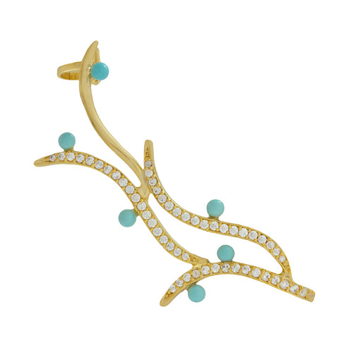 Joanna Laura Constantine Crystal Turquoise Fire Ear Cuff