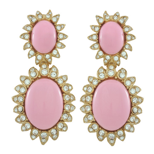 Ciner for Sophie Baby Pink Cabochon Earrings