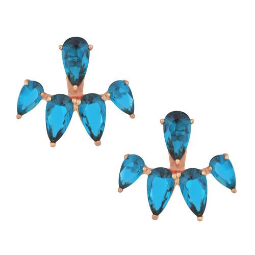 Armadoro Poire Aqua Rose Gold Ear Jackets
