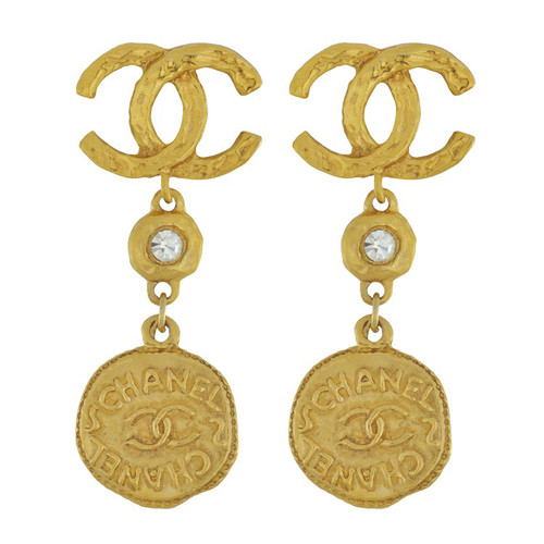 Vintage Chanel CC Gold Coin Drop Earrings