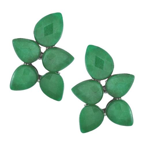 Siman Tu Green Aventurine Button Earrings