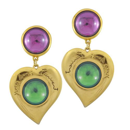 Vintage Yves Saint Laurent Purple Green Glass Heart Earrings