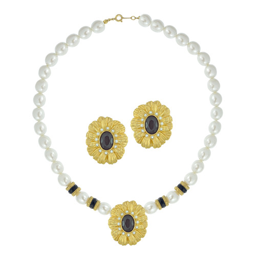 Vintage Gold Pearl Flower Necklace Set