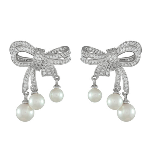 Pink Pave CZ Bow Pearl Earrings