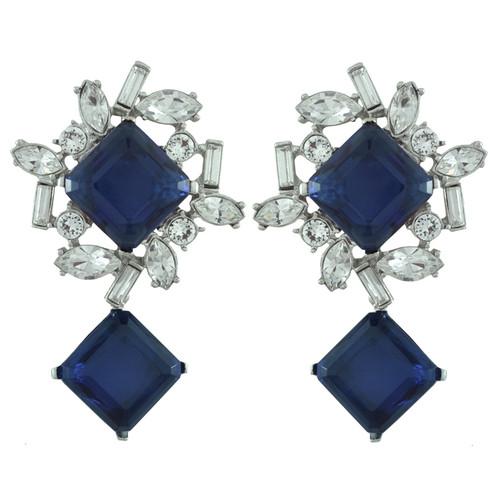 Kenneth Jay Lane Sapphire Baguette Drop Earrings