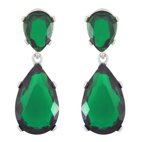 Kenneth Jay Lane Emerald Silver Earrings