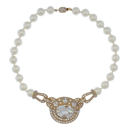 Ciner Large Crystal Pearl Necklace