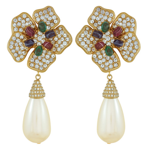 Ciner Multi Color Flower Pearl Drop Earrings
