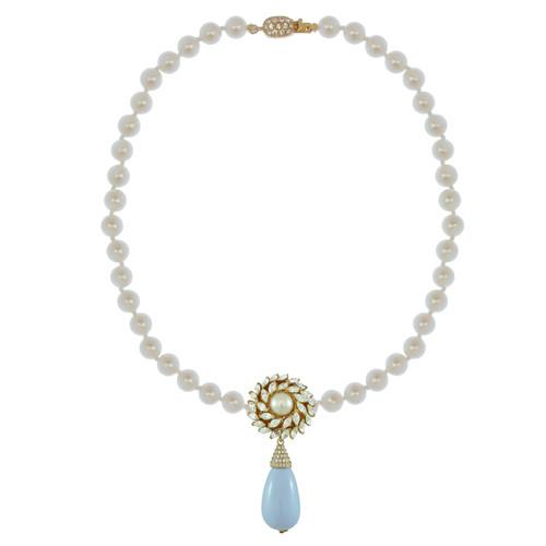 Ciner for Sophie Pale Blue Flower Drop Necklace