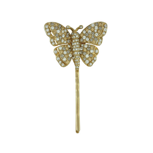 Ciner Pave Crystal Butterfly Bobby Pin