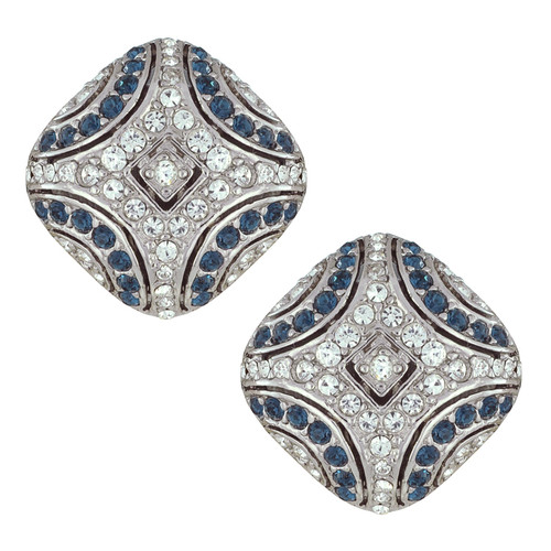 Ciner Art Deco Sapphire Crystal Earrings