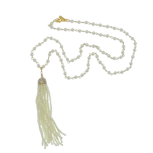 Kenneth Jay Lane Long Pearl Gold Chain Tassel Necklace