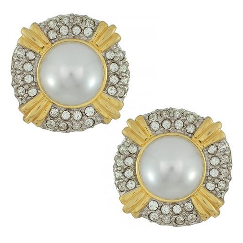 Kenneth Jay Lane Pearl Crystal Button Earrings