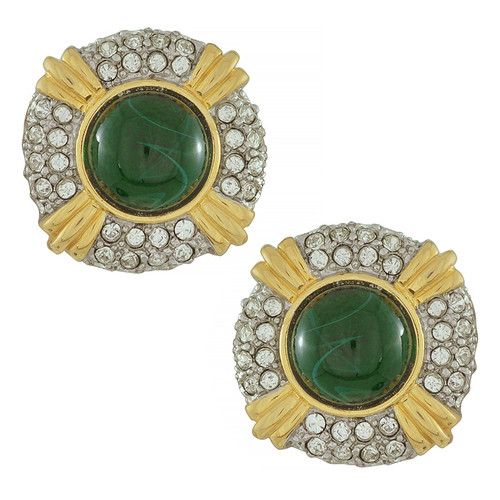 Kenneth Jay Lane Emerald Crystal Button Earrings